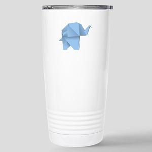 Blue origami elephant Stainless Steel Travel Mug
