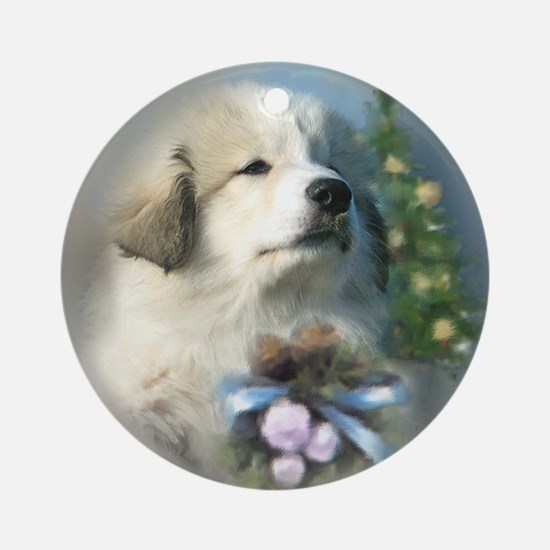 Great Pyrenees Christmas Ornament (Rd),Xmas Puppy