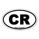 Court Reporter CR Euro Oval Sticker
