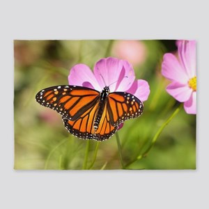 Monarch Butterfly on Pink Cosmos 5'x7'Area Rug
