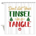 Fun Tinsel In A Tangle Christmas Shower Curtain