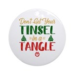 Fun Tinsel In A Tangle Christmas Round Ornament