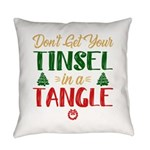 Fun Christmas Tinsel In A Tangle Everyday Pillow