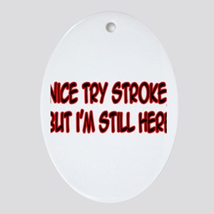 """Nice Try Stroke..."" Oval Ornament"