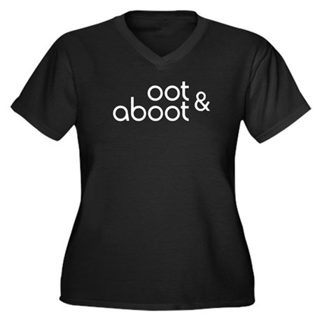 Oot & Aboot Women's Plus Size V-Neck Dark T-Shirt