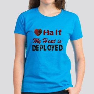 Half My heart is deployed Women's Dark T-Shirt