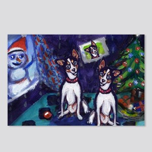 RAT TERRIER Christmas snowman Postcards (Package o