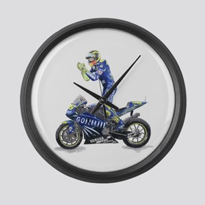 Racing Motorcycle & Rider #1 Large Wall Clock