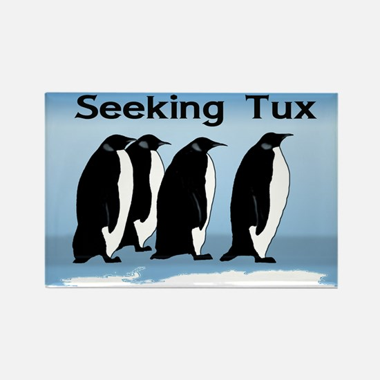 Penguins Seeking Tux Rectangle Magnet