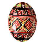 Ukrainian Pysanky Decorated Egg Oval Ornament