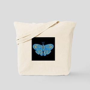 Blue & Gold Butterfly Shopping Bag