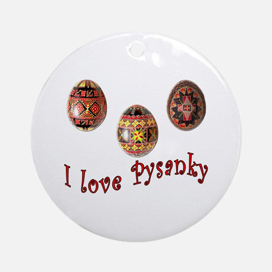 I Love Pysanky Ornament (Round)