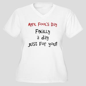 April Fool's Day Women's Plus Size V-Neck T-Shirt