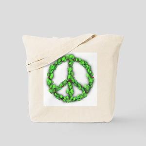 Peace Holly Wreath Christmas Shopping Tote Bag