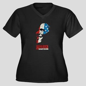 Obama Flag Women's Plus Size V-Neck Dark T-Shirt
