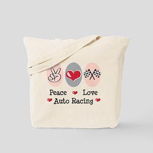 Peace Love Auto Racing Tote Bag