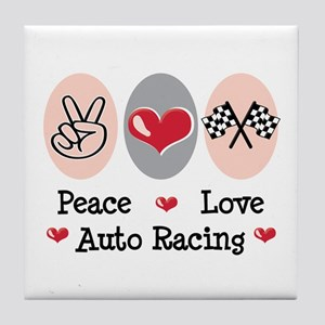 Peace Love Auto Racing Tile Coaster