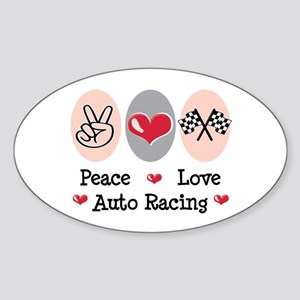 Peace Love Auto Racing Oval Sticker