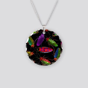 Colorful Roaches Necklace Circle Charm
