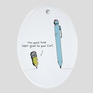 Pencils Cartoon Ornament (Oval)