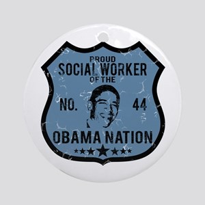 Social Worker Obama Nation Ornament (Round)