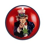 Uncle Sam Says Go Green! Ceramic Round Ornament