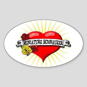 Miniature Schnauzer Heart Oval Sticker