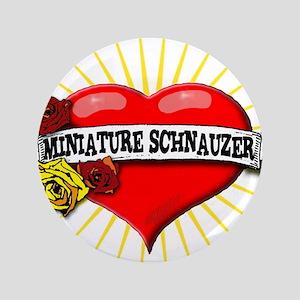 """Miniature Schnauzer Heart 3.5"""" Button"""