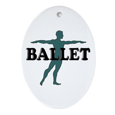 Male Ballet Silhouette Oval Ornament