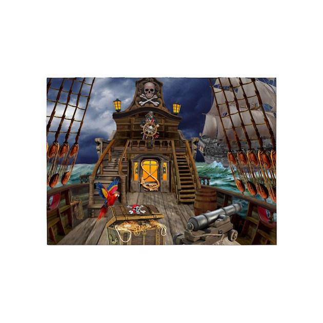 Pirate Treasure Map Rug: STOLEN PIRATE TREASURE 5'x7'Area Rug By Holbrookart