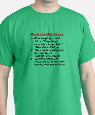 """Obama's Socialist Gameplan"" T-Shirt"
