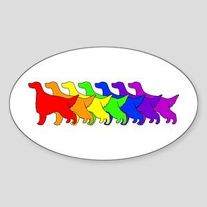 Rainbow Irish Setter Oval Sticker