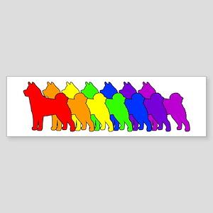 Rainbow Akita Bumper Sticker