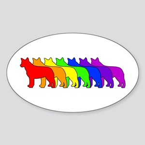 Rainbow Blue Heeler Oval Sticker