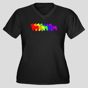 Rainbow Australian Terrier Women's Plus Size V-Nec