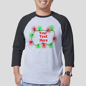 Custom Christmas Lights Mens Baseball Tee