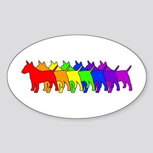 Rainbow Bull Terrier Oval Sticker