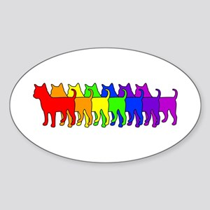 Rainbow Chihuahua Oval Sticker
