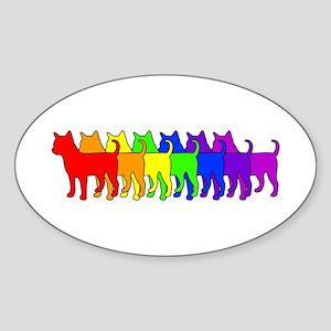 Rainbow Chihuahua Oval Sticker