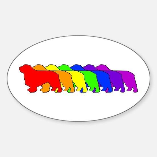 Rainbow Clumber Spaniel Oval Decal