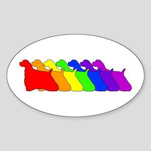 Rainbow Cocker Spaniel Oval Sticker