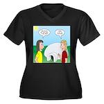 Popcorn Iglo Women's Plus Size V-Neck Dark T-Shirt