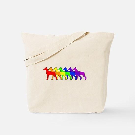 Rainbow Doberman Tote Bag