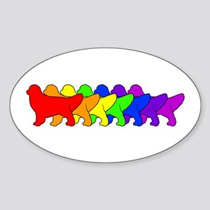 Rainbow Golden Oval Sticker