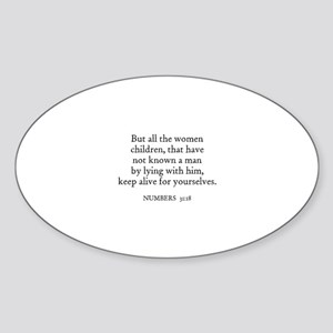 NUMBERS 31:18 Oval Sticker