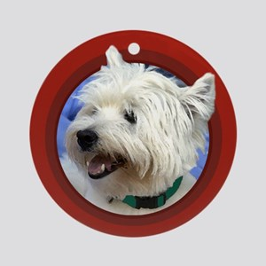 Westie Round Red Ornament