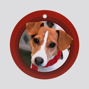 Jack Russell Terrier Round Red Ornament