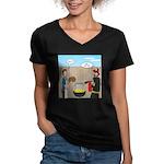 Unsafe Turkey Frying Women's V-Neck Dark T-Shirt