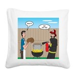 Unsafe Turkey Frying Square Canvas Pillow