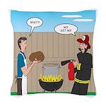 Unsafe Turkey Frying Woven Throw Pillow